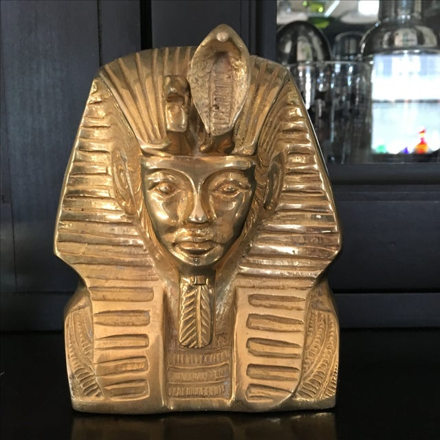 Gold Vintage Solid Brass Egyptian Bust of King Tut For Sale - Image 8 of 8