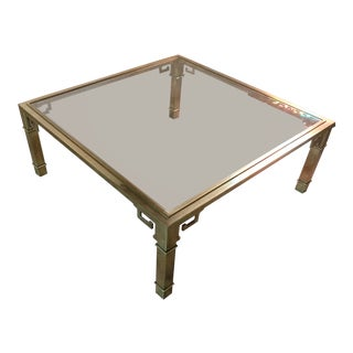Vintage 1970's Brass Greek Key Coffee Table by Mastercraft For Sale