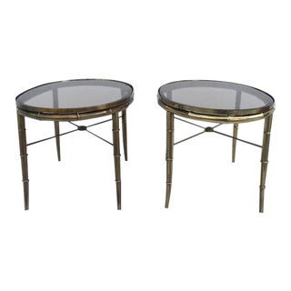 Aged Brass Faux Bamboo Occasional Tables by Mastercraft - A Pair For Sale
