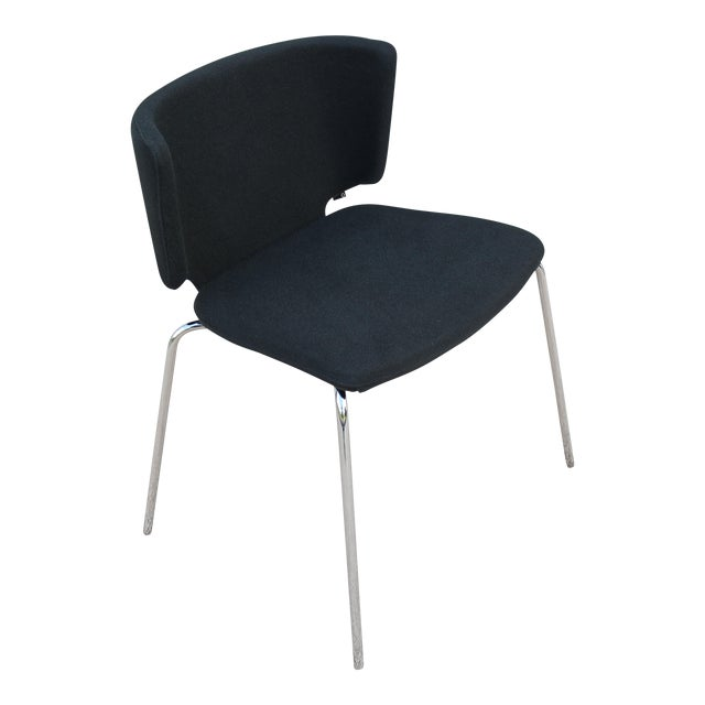 Modern Spain Mark Krusin for Coalesse Wrapp Stackable Black Guest Chair For Sale