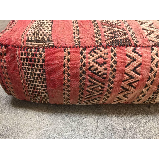 Moroccan Floor Pillow Tribal Seat Cushion Made From a Vintage Berber Rug For Sale In Los Angeles - Image 6 of 13