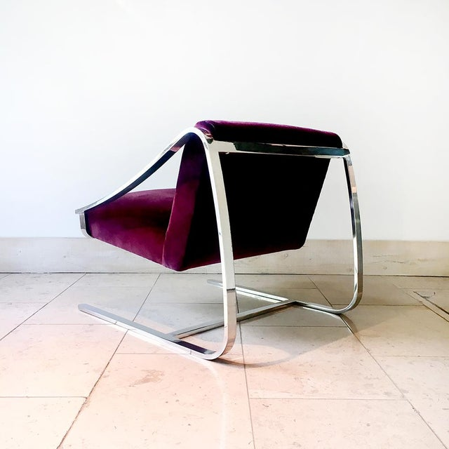 Single Original Plaza Velvet Upholstered Lounge Chair by Brueton 1970s For Sale - Image 6 of 7