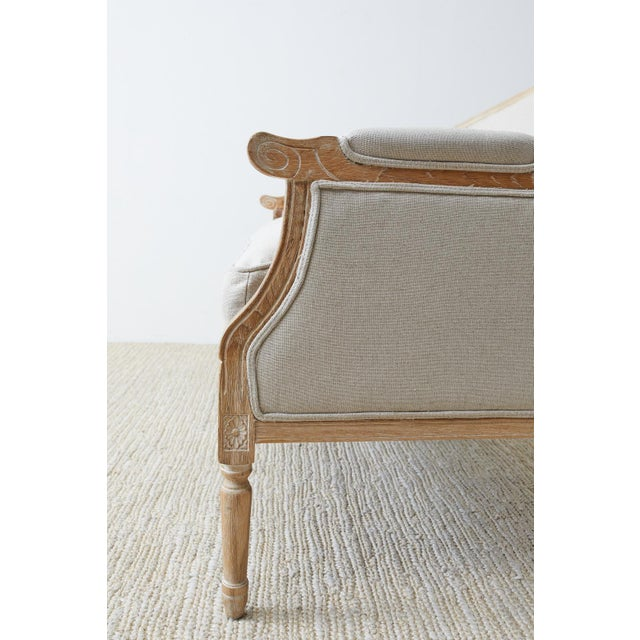 French Louis XVI Style Bleached Oak Settee Loveseat For Sale - Image 11 of 13