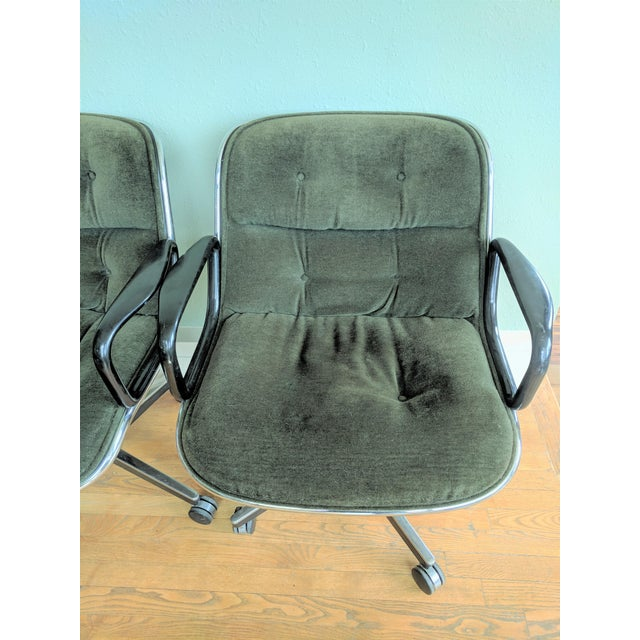 Knoll Vintage Knoll Pollock Green Mohair Velvet Executive Chairs - a Pair For Sale - Image 4 of 13