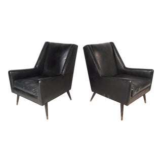 Pair of Vintage Modern Italian Lounge Chairs For Sale