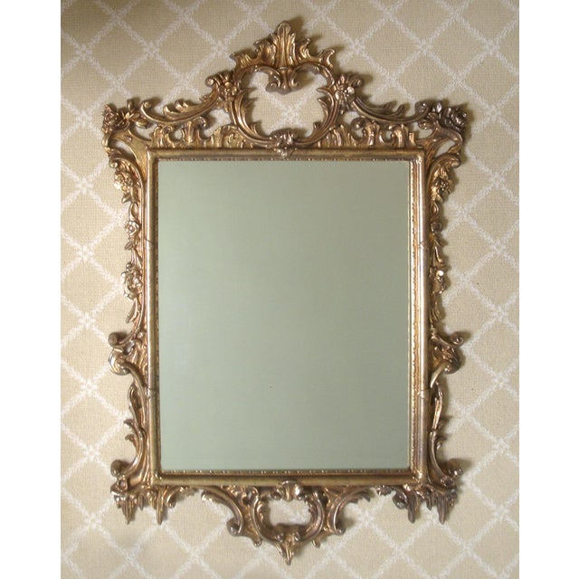 Glass Large Gold Chippendale Rococo Mirror For Sale - Image 7 of 7