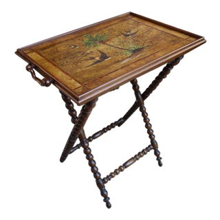 19th Century English Traditional Inlaid Bird Olive Wood Serving Tray For Sale