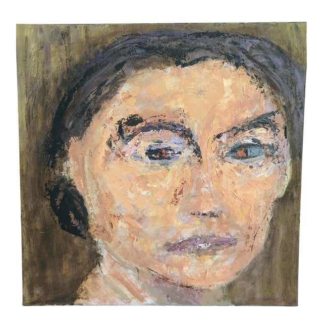 Impressionist Oil Portrait Painting of Woman For Sale
