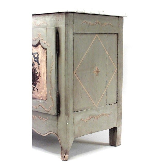 French Provincial (18th-19th century) grey painted commode with three decorated doors and white marble top (painted finish...