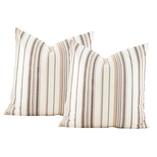 Outdoor Perennials Neutral Stripes Pillow Covers - A Pair For Sale