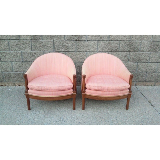 Silk Salmon Dupioni Silk Tub Chairs-A Pair For Sale - Image 7 of 7