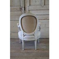 19th Century Carved and Painted French Chair in Antique Linen For Sale In Los Angeles - Image 6 of 6