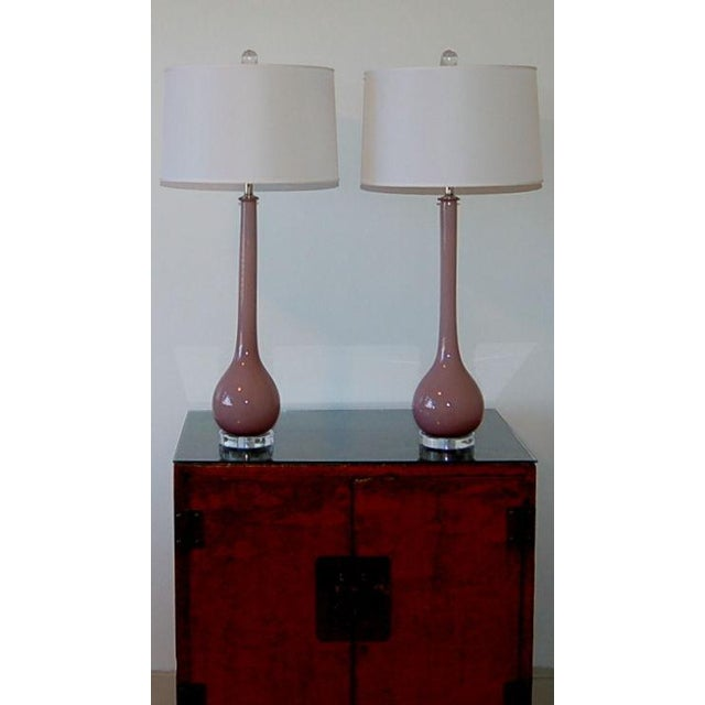 Silver Vintage Murano Glass Long Neck Table Lamps Lavender For Sale - Image 8 of 8