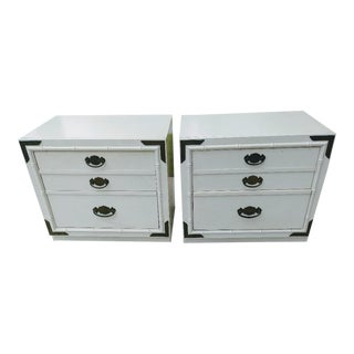 A Pair Thomasville Vintage Campaign 2 Drawer Off White Night Stand Tables