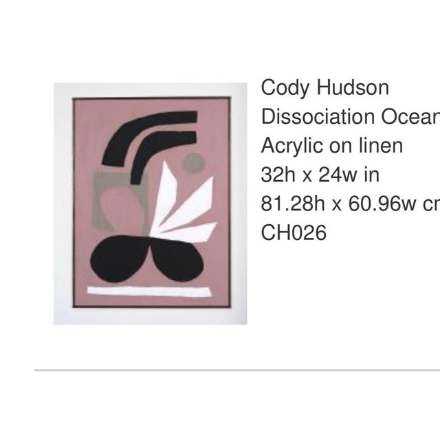 Cody Hudson is a Chicago based artist known for his arcyllics on linen (pictured here) and his graphic contributions under...