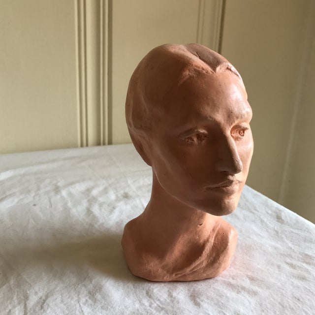 1970s Vintage Artisan Sculpted Female Head Bust For Sale - Image 5 of 11