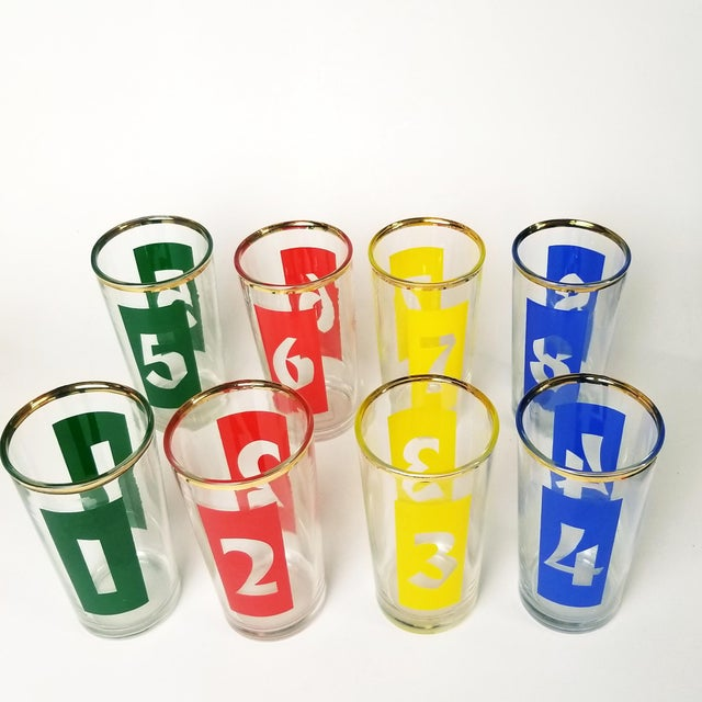 1960s Mid-Century Decanter, Ice Bucket and Highball Glasses Numbered in Bright Primary Colors - Set of 10 For Sale - Image 5 of 13