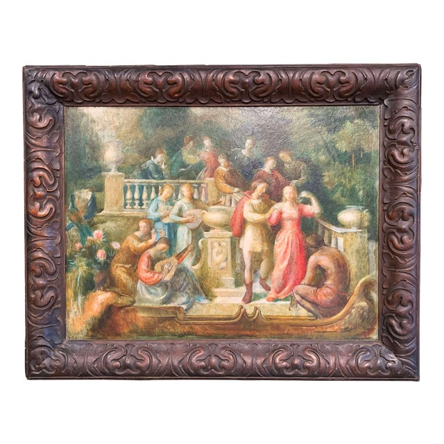19th Century Spanish Serenade Painting on Board in Original Carved Frame For Sale