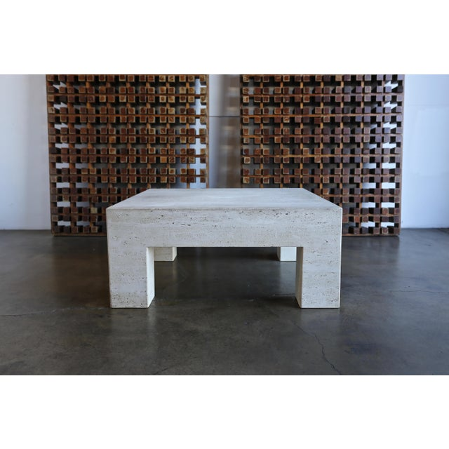 Contemporary Travertine Coffee Table For Sale - Image 3 of 9