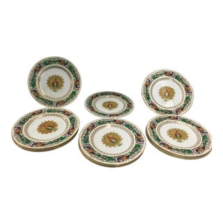 12 Wedgwood Peacock Plates Handpainted For Sale