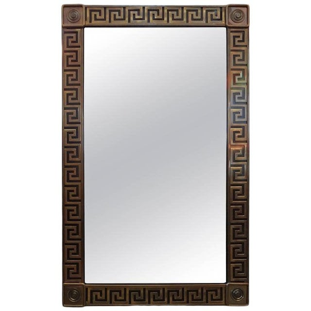 Metal Mastercraft Brass Greek Key Beveled Mirror For Sale - Image 7 of 8