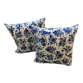 Gucci Blue & White Flora Pillows - a Pair