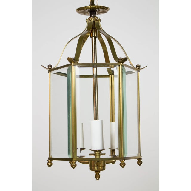 Traditional Hexagonal Beveled Glass Lantern For Sale - Image 3 of 4