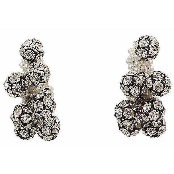 1960s Rhinestone & Faux-Pearl Earrings For Sale - Image 4 of 12