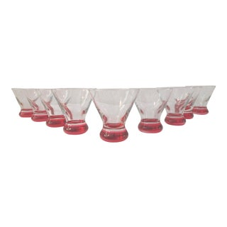 Modern Flame Red Bottom Martini Glasses, - Set of 9 For Sale