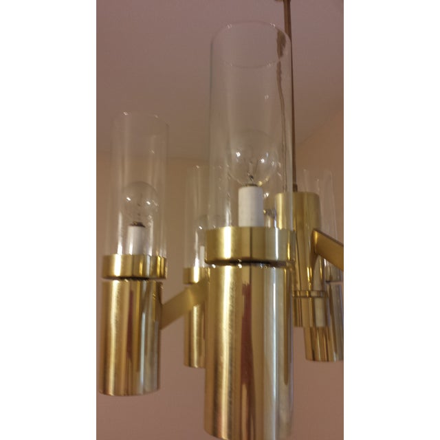 Brass 6 Arm Chandelier Attributed to Sciolari - Image 5 of 8