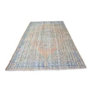 "Antique Handmade Wool Area Carpet - 6' x 8'10"""