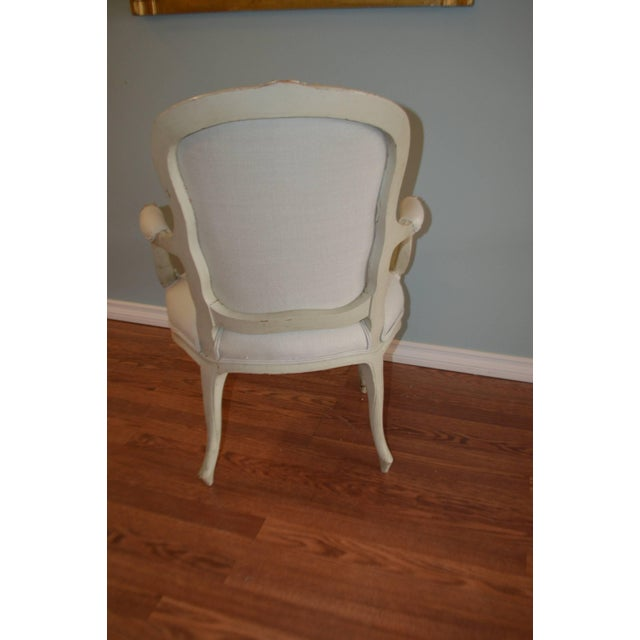 Fabric Louis XV Style Painted Armchairs - A Pair For Sale - Image 7 of 8