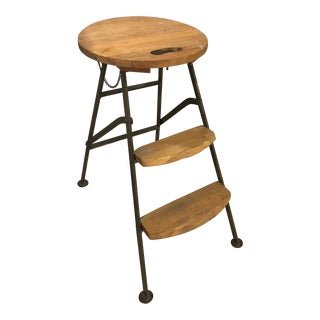 1990s Vintage Iron and Wood Step Stool For Sale