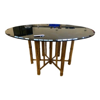 McGuire Hexagonal Bamboo Base With Round Black Glass Top Dining Table Seats 4-6 For Sale