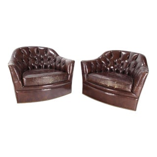 Pair of Brown Shiny Leather Swivel Chairs Tufted With Chesterfield Backs For Sale