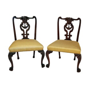 Late 19th Century English Chippendale Mahogany Side Chairs - a Pair For Sale