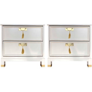 1960s Hollywood Regency White 2-Drawer Nightstands - a Pair For Sale
