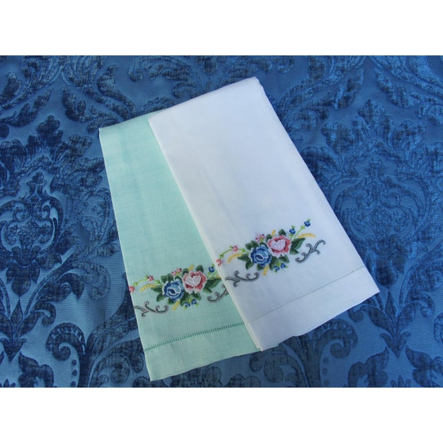 Traditional Vintage Embroidered Linen Guest Hand Towels For Sale - Image 3 of 3