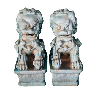 Late 20th Century Vintage Japanese Celadon Glazed Terra Cotta Shisa Lion/Foo Dog Statues - a Pair For Sale