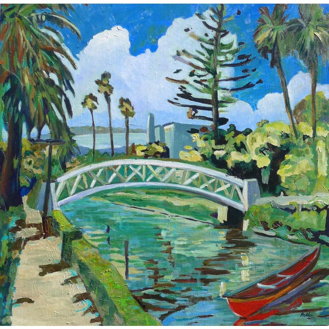 "Monumental ""Venice Canal, California"" Oil Painting For Sale - Image 9 of 10"
