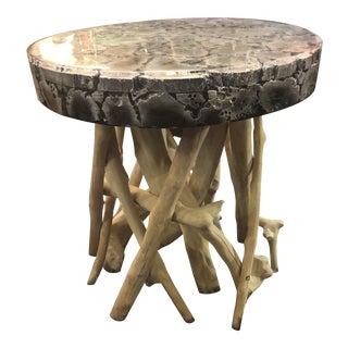 1990s Vintage Made Goods Renberg Natural Teak Branch Base Side Table For Sale