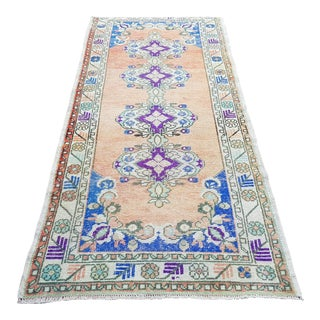 "Vintage Turkish Oushak Runner Rug-3'4'x8"" For Sale"