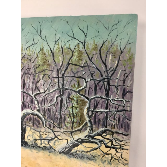 Large 1990's Original Expressionist Landscape Oil Painting For Sale - Image 4 of 13