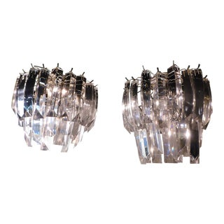 1970s Lucite and Chrome Two Flush Mount Ceiling Lights For Sale