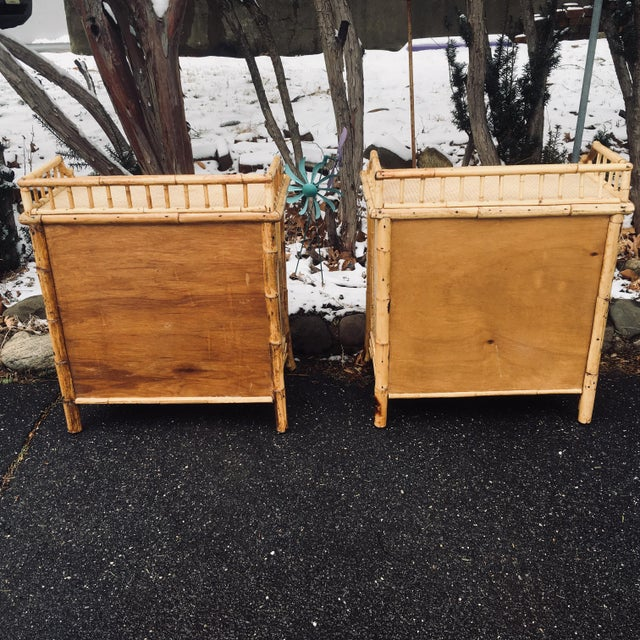Calif-asia 1970s Boho Chic Rattan Calif Asia and Cartel Nightstands - a Pair For Sale - Image 4 of 10