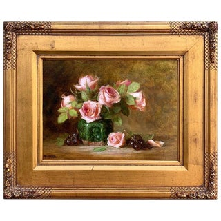 Roses in a Green Chinese Export Jar Still Life By, Lucy Mazzaferro For Sale