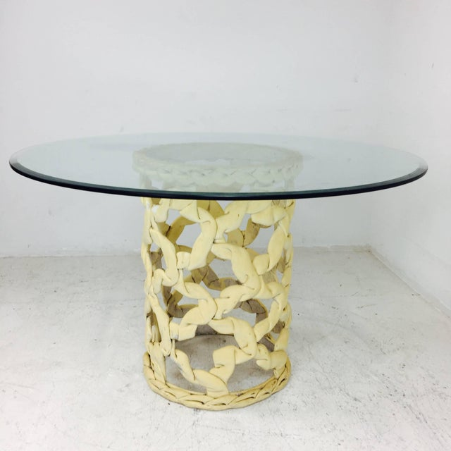 """""""Ribbon"""" dining table in cream resin in the style of Tony Duquette. Refinishing is recommended for table base, circa 1960s..."""