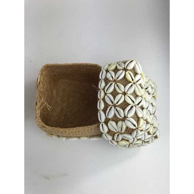 1970s Vintage Cowrie Shell Covered Baskets - A Pair For Sale - Image 4 of 10