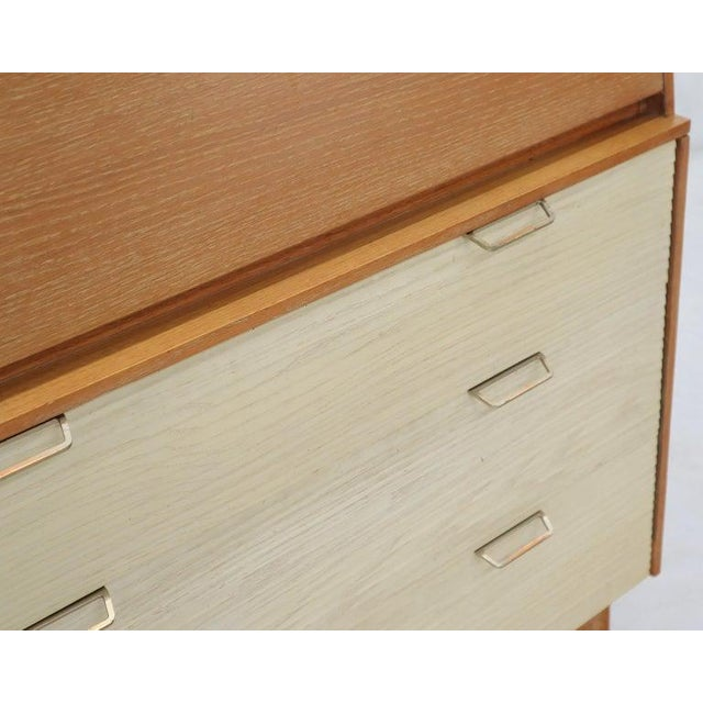 Wood Cerused Oak Drop Front Secretary on Dowel Legs by Mengel For Sale - Image 7 of 11
