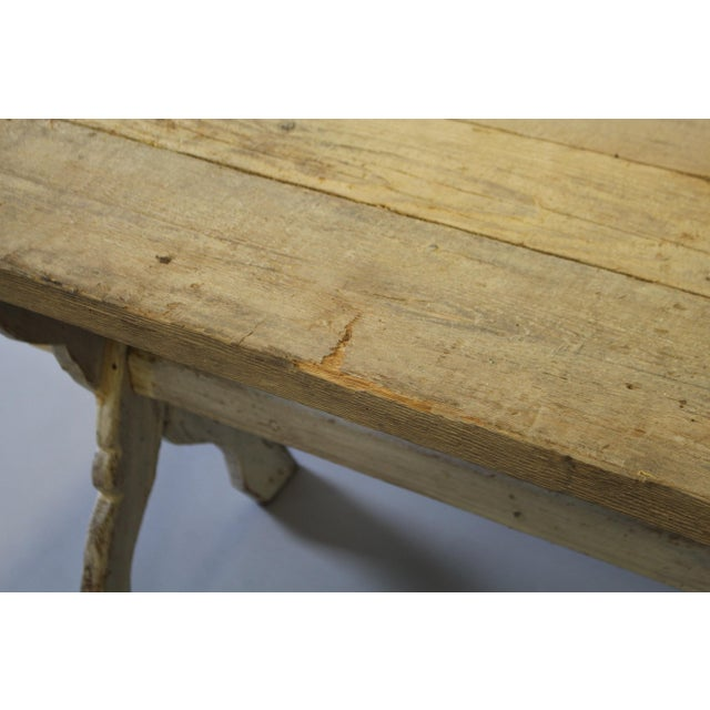 Bleached Pine Table With Trestle Base For Sale - Image 4 of 7